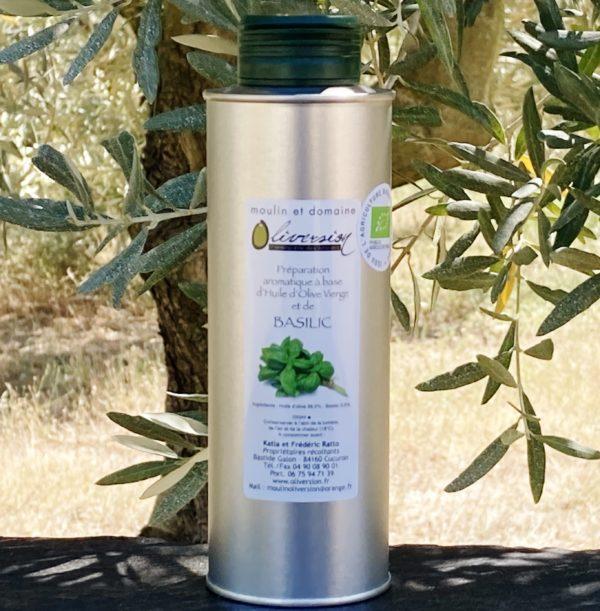 Huile d'olive bio au basilic