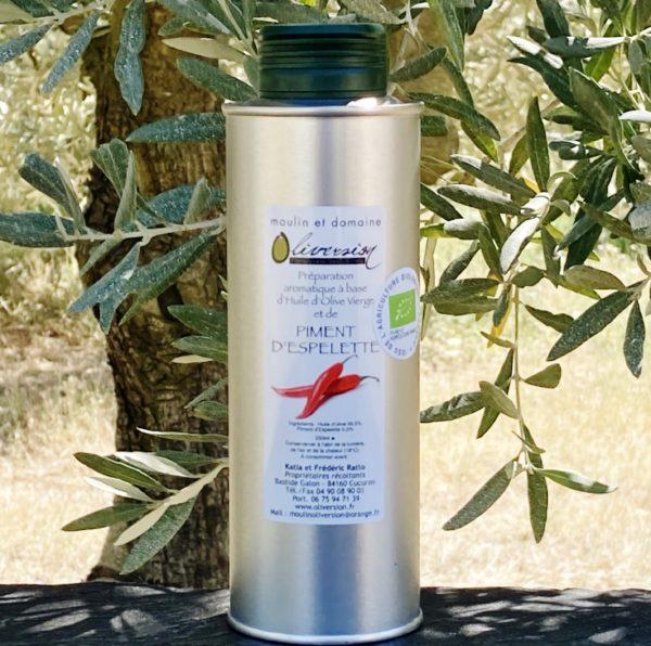 Huile d'olive bio au piment