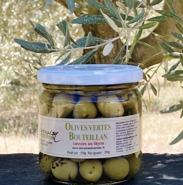 Olives vertes bouteillan aromatisées